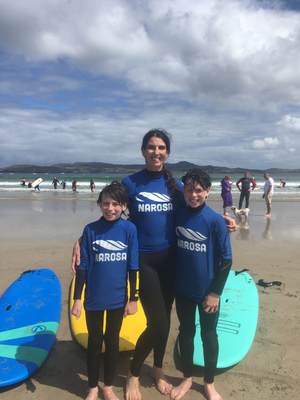Kathy Donaghy and her two boys at Dunfanaghy, Co Donegal.