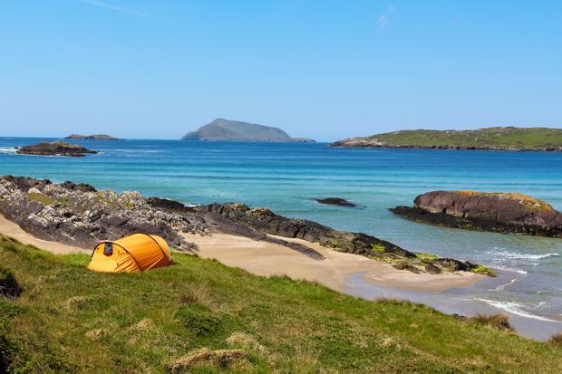 Camping by the beach in Derrynane