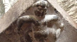 The mysterious Sheela-na-gig on the bishop's tomb in Kildare Cathedral