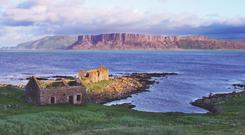 The view from Rathlin Island over to Fair Head in Co Antrim
