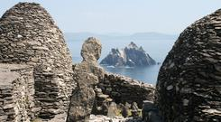 The beehive huts on the Skelligs looking back to mainland