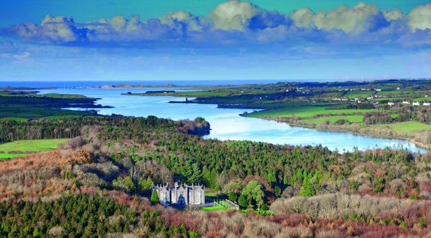 The wide open coutry of Mayo with the Atlantic in the background, and sophisticated Beleek Castle in the foreground