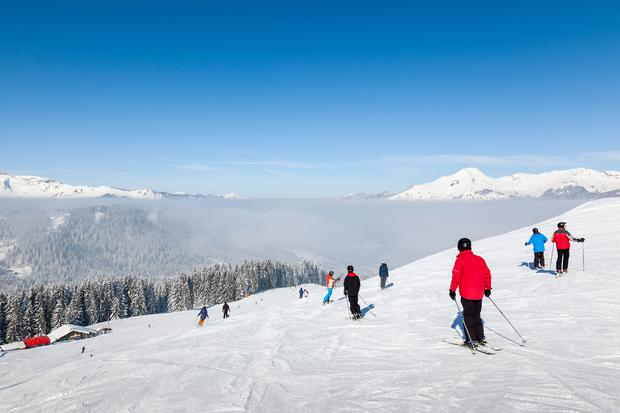MORZINE, FRANCE: Skiers and snowboarders on La Combe piste in Morzine resort, part of the Portes du Soleil ski area. Photo: Deposit
