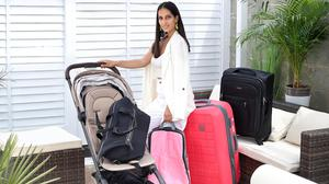 Travel blogger Siobhán McAuley at her home in Donacarney, Co Meath, with her Joolz Aer buggy, Jem and Bea holdall, luggage organiser, Tripp hard case and a Samsonite case. Photo: Frank McGrath
