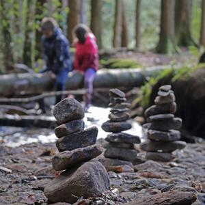 Kyra Fingleton brought her family to Monicknew, Co Laois and made inukshuks - talismans of good luck for travellers.