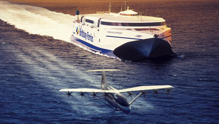 An artist's impression of the 'seaglider' craft alongside a Brittany Ferries' hydrofoil