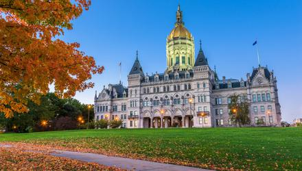 Autumn or Fall in New England is captured in all its rustic elegance outside the Connecticut State Capitol building in Hartford