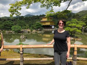 Gemma at the gold-leaf-clad temple, which is the most famous landmark of Kyoto