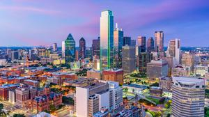 The shimmering Dallas skyline