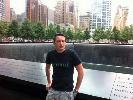 Kevin Doyle at the 9/11 memorial, New York