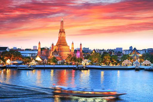 Foodie paradise: Wat Arun temple on the Thonburi west bank of the Chao Phraya River.