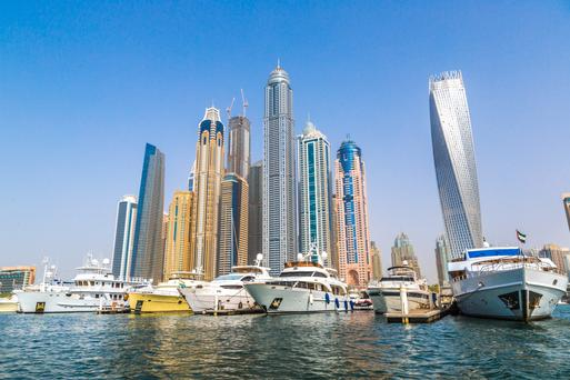Flash: The skyscrapers in Dubai Marina are testament to Dubai's tendency to have the highest, biggest and best of everything. The 'twisted' building on the right is based on the DNA helix.