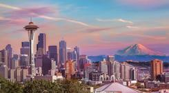 Stunning Seattle... The 605ft Space Needle, built in 1962, dominates the landscape and looks out over the city towards snow-capped Mount Rainier 60 miles away