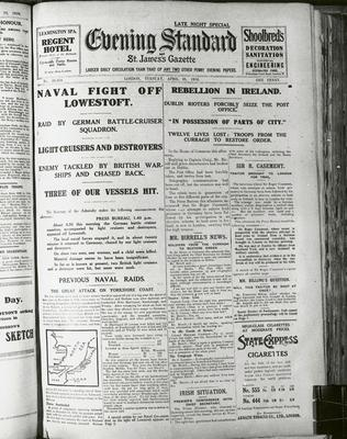 The 'Evening Standard' split its front-page coverage between World War I and the events of the 1916 Easter Rising
