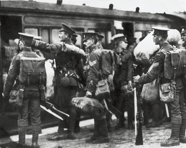 Call up: Soldiers getting on the train at the Curragh, Co Kildare. Getty