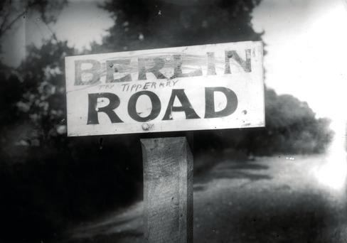 A sign for the Berlin Road c1918, which has been renamed Tipperary. (Photo by Topical Press Agency/Getty Images)