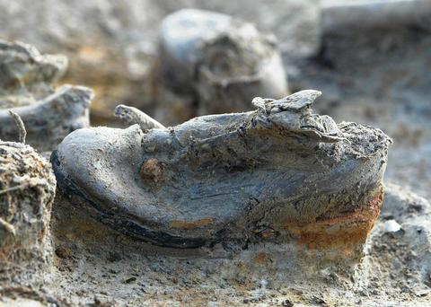 A shoe, believed to belong to a British soldier, excavated in 2003.