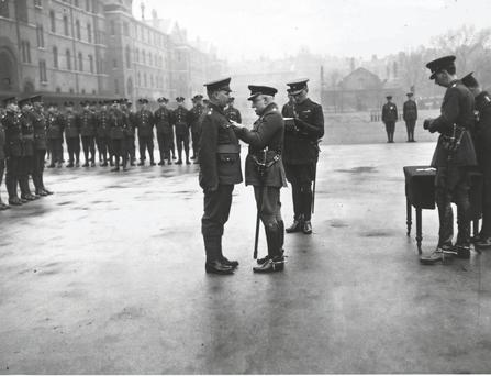 Lord John Denton Pinkstone French presenting an MSM to an Irish Guard in 1920.