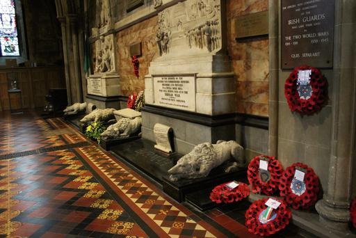 Poppy wreaths laid at the memorial in Dublin's St Patrick's Cathedral.