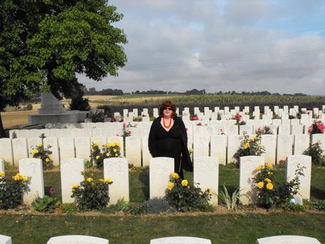 Finding Billy: Top, Lucinda finally finds her Uncle Billy in the shadow of an old oak tree in the Military Cemetery at Varennes.