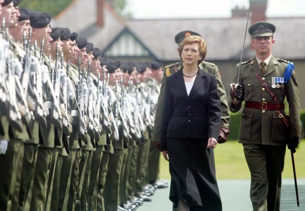 Guard of honour: Mary McAleese during the 90th anniversary commemoration of the Battle of the Somme at the Irish National War Memorial Park in Dublin