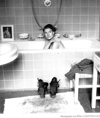 LEE MILLER IN ADOLF HITLER'S BATHTUB MUNICH 1945 PICTURE BY FELLOW LIFE PHOTOGRAPHER DAVID E. SHERMAN