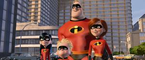 THE INCREDIBLES...Pictured left to right: Violet, Dash, Mr. Incredible, and Elastigirl in a scene from THE INCREDIBLES.