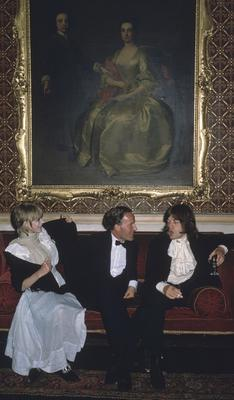 1960s icons Marianne Faithfull and Mick Jagger with Desmond Guinness at Leixlip Castle