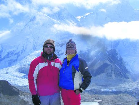 Beth Dinsmore of Suas with her husband Jonathan Griffin at Mount Everest.