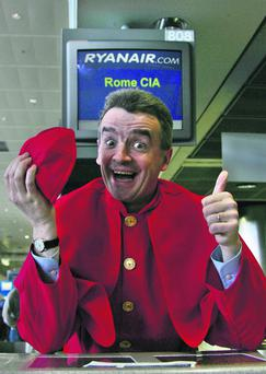 Hats off: Michael O'Leary dressed up like a cardinal when Ryanair began operating flights to Rome Campino