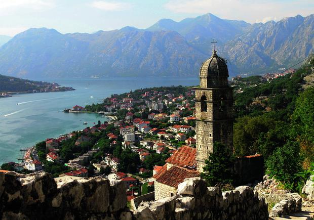 A temple overlooking the bay within the ancient walled city of Kotor, which is a Unesco world heritage site.