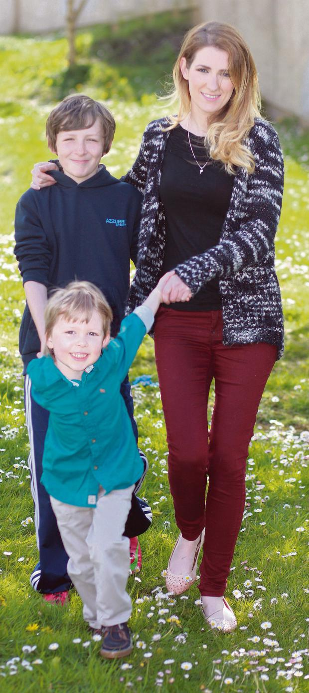 Mum and her little men: Nichola Curran with her two sons Ethan (11) and Cole (4) at home in Arklow. Ronan Lang
