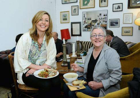 Edel Coffey and Garry Hynes having lunch in The Fumbally. Photo: DAVE MEEHAN
