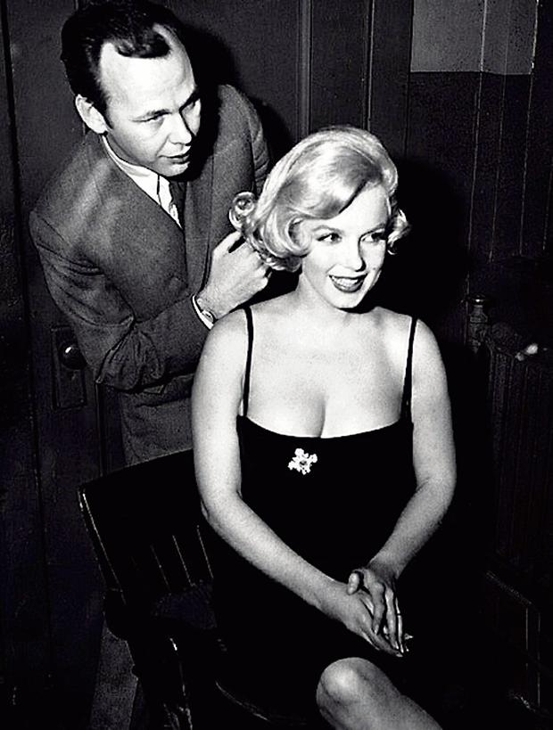 Hairdresser to the stars: Kenneth Battelle styling Marilyn Monroe's hair in the late 1950s