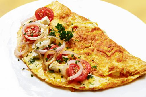 Tomato and onion omelette
