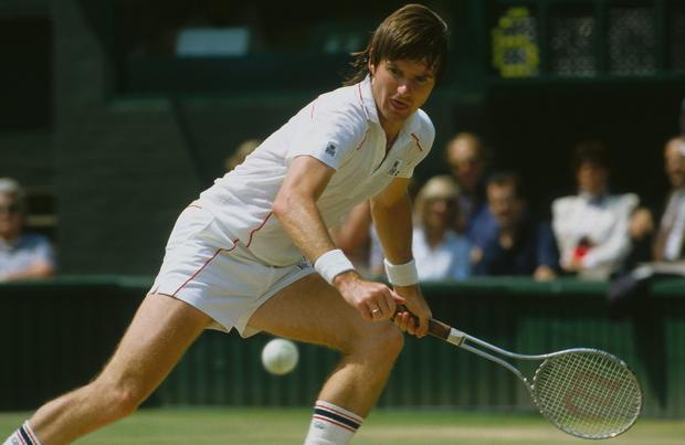 Jimmy Connors runs and swings during a match at Wimbledon held at the All England Lawn Tennis and Croquet Club circa July,1982 in Wimbledon, London. (Photo by Focus on Sport/Getty Images)
