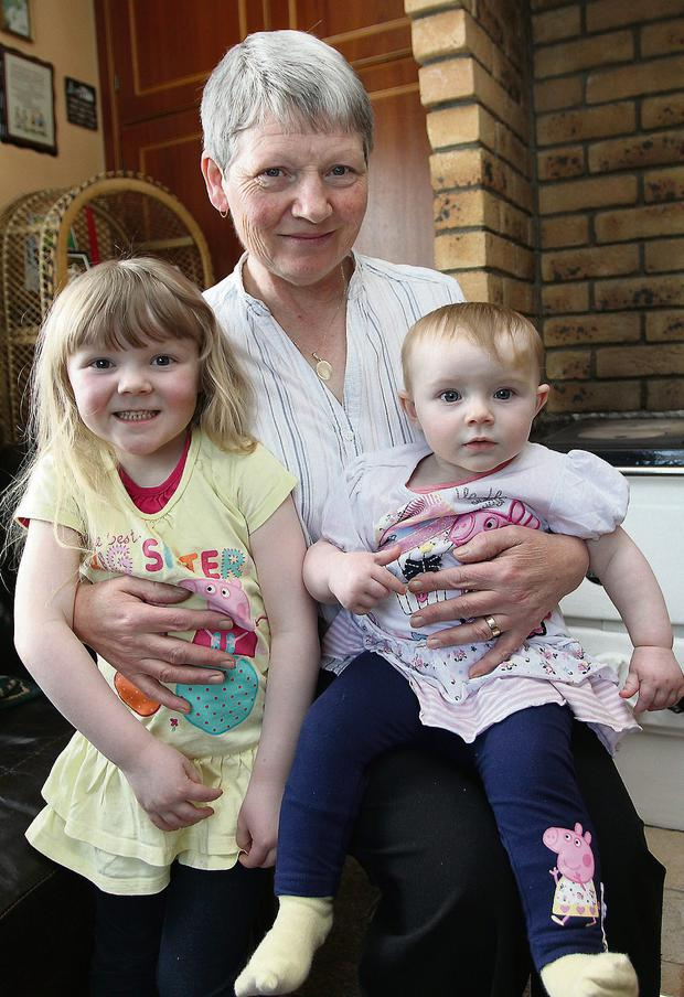 Super Gran Catherine Donohoe of Gowna, Co. Cavan and her granddaughters Paige (4) and Annie (1) Mulvey. Photo: Lorraine Teevan