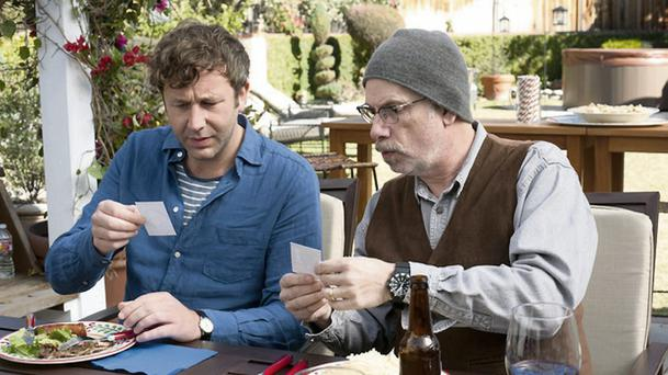 Chris O'Dowd (above left, with the series' writer-director-producer Christopher Guest) stars as a guy who has just lost his job and girlfriend and fills the void by looking into his family genealogy in Family Tree