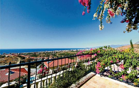 Gold City enjoys great views of Alanya city resort from its hilltop position.