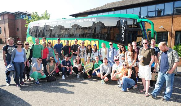 Bus buddies: Eoin (far right) with his fellow Paddywagon travellers.