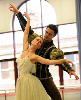 Iain Mackay and Jenna Roberts of the Birmingham Royal Ballet prepare for their production of 'Giselle'