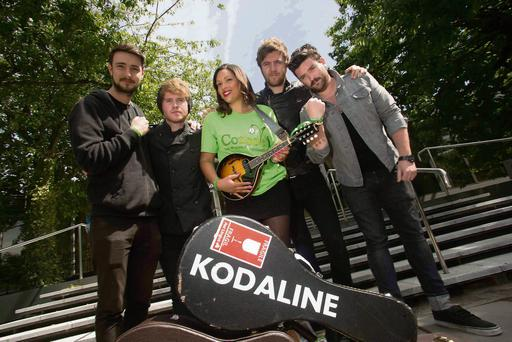 Band aid: Kodaline, pictured with Console ambassador Celine Bonner, are campaigning against youth suicide.