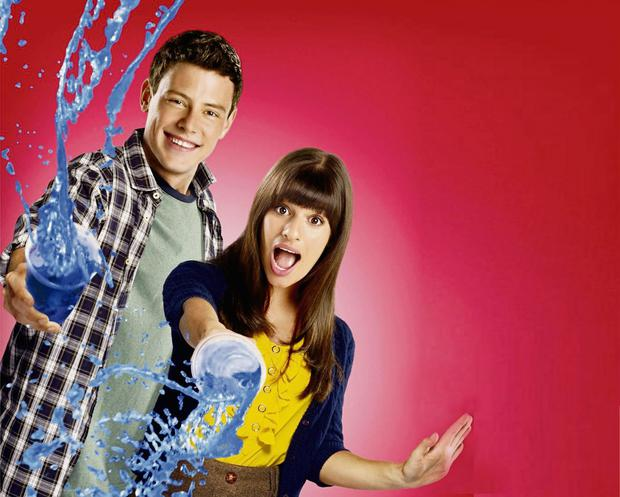 Cory Monteith with real-life girlfriend and co-star Lea Michele