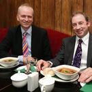 Tie cuisine: Oisin Quinn and Thomas at lunch in legal eagles' restaurant Hanley at The Bar.