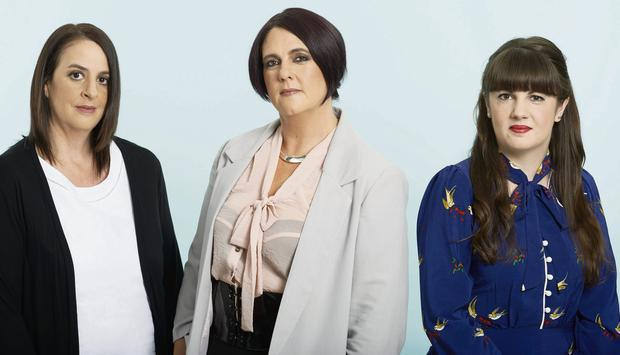 HOAX VICTIMS: (From left) Rachel Burton, Joanna Bell and Claire Travers Smith, who were all duped by the online dating scammer