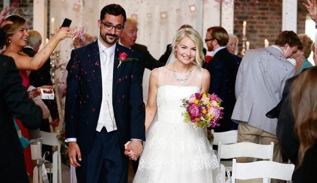 Bride Suzy Addis with her groom Brendan Hastings at their humanist wedding in Slane, Co Meath