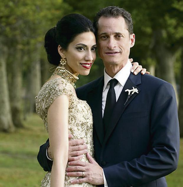 Happier times: Anthony Weiner and Huma Abedin on their wedding day in 2010