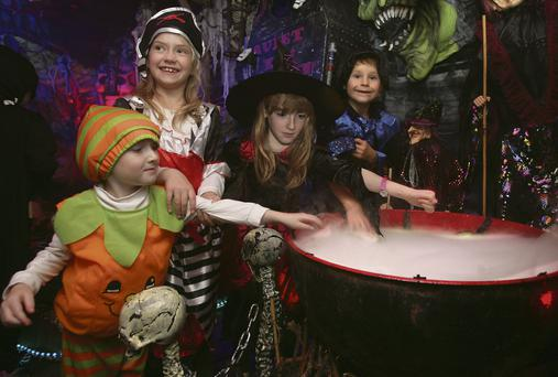 Trick or treat: James, Zara, Charlotte, and Dara at the annual Halloween festivities in Bayview, Killiney, Dublin