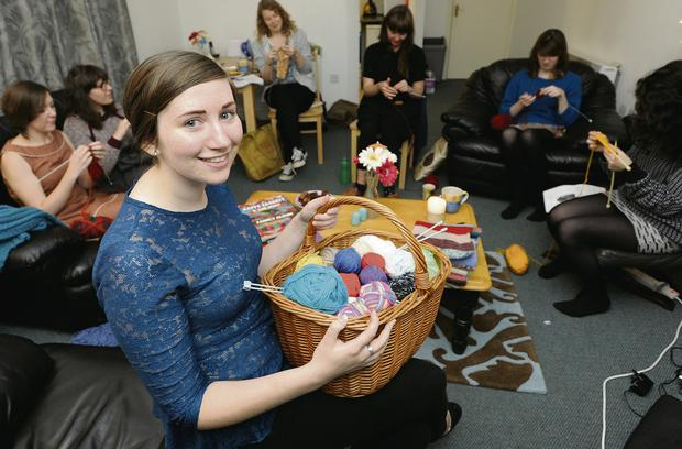 Ella Hassett with her knitting circle