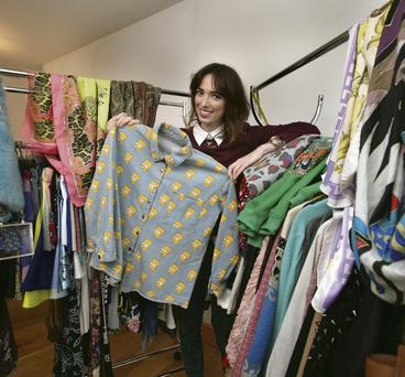 Cyber fashionista: Ciara O'Doherty with some of her collection of online bargains.